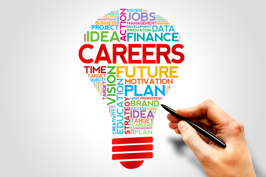 Graphic of a light bulb with the word Careers plus other job-related terms